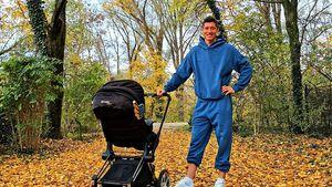 Im Jogger: Robert Lewandowski genießt seine Rolle als Papa