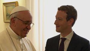 Treffen von Papst Franziskus und Mark Zuckerberg im Jahr 2016