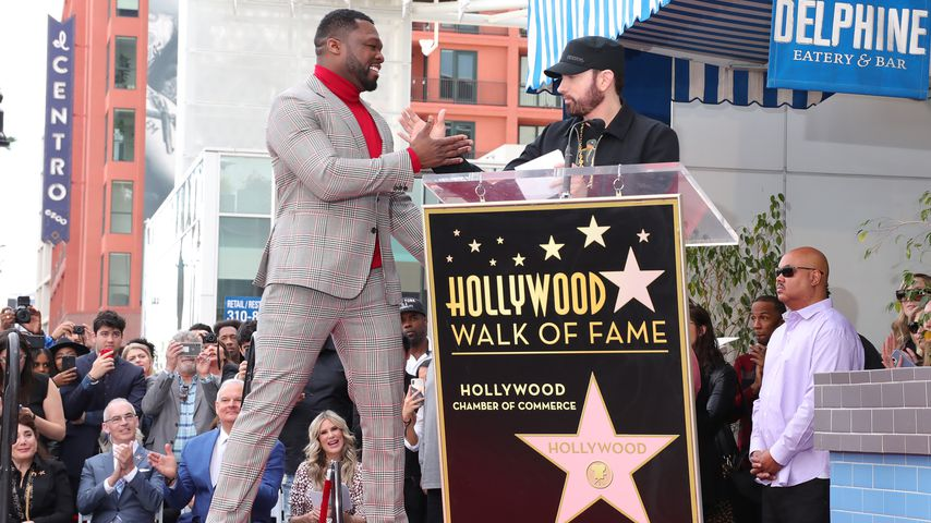 "50 Cent und Eminem bei der ""Walk of Fame""-Zeremonie in Hollywood im Januar 2020"