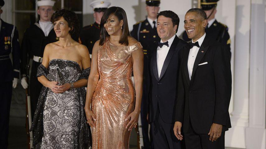 Agnese Landini, Michelle Obama, Matteo Renzi und Präsident Barack Obama beim U.S. State Dinner
