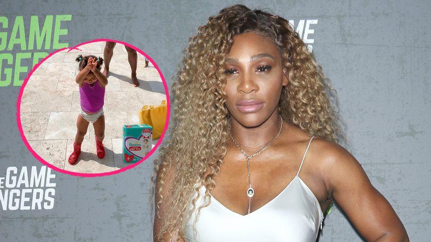 Hier stretchen sich Serena Williams und Tochter Olympia