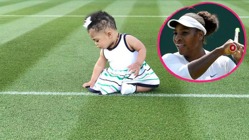 Megasüß: Serena Williams' Tochter zupft am Wimbledon-Rasen