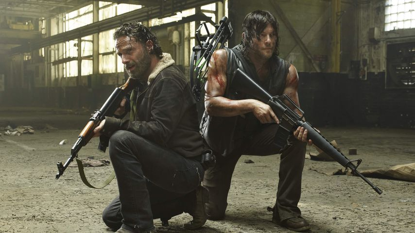 "Andrew Lincoln und Norman Reedus in der 5. Staffel von ""The Walking Dead"""