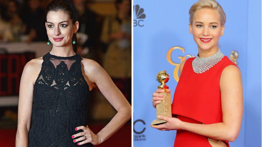 """Nach """"Golden Globe""""-Eklat: Anne Hathaway verteidigt JLaw!"""