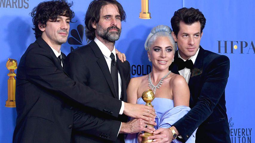Anthony Rossomando, Andrew Wyatt, Lady Gaga und Mark Ronson bei den Golden Globes