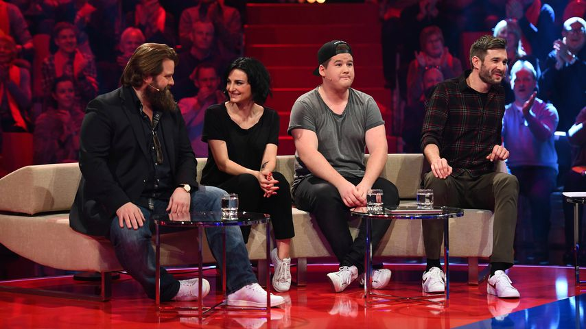 """Antoine Monot, Mimi Fiedler, Chris Tall und Jochen Schropp beim """"Duell der Stars"""" auf Sat.1"""