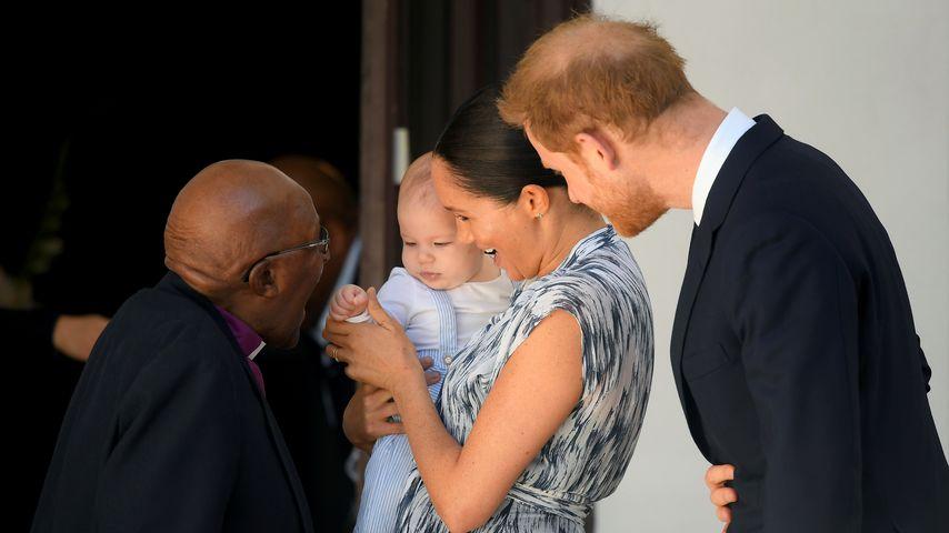 Erzbischof Desmond Tutu mit Archie Harrison, Herzogin Meghan und Prinz Harry