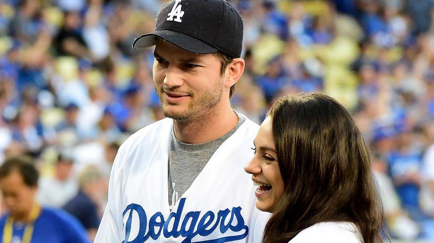 Ashton Kutcher und Mila Kunis beim Baseball in Los Angeles