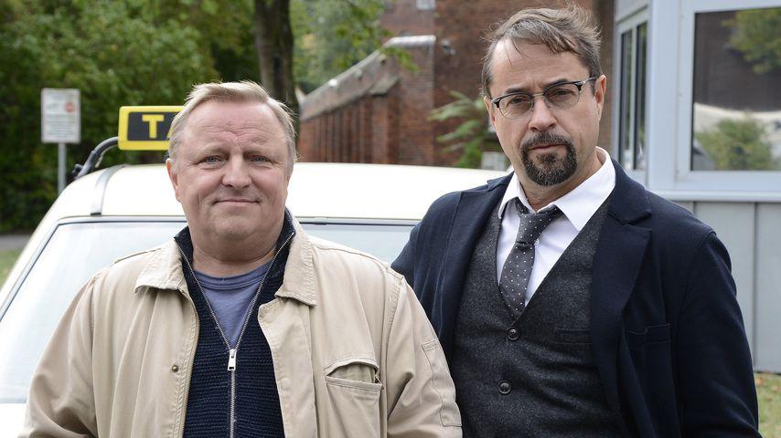 """Axel Prahl und Jan Josef Liefers am Set des ARD-Krimis """"Tatort"""""""