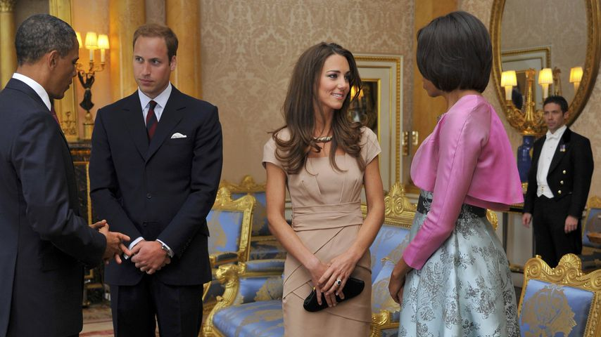 Barack Obama, Prinz William, Herzogin Kate und Michelle Obama im Buckingham Palace