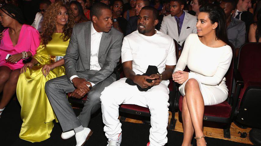 Die Paare Beyoncé und Jay-Z sowie Kanye West und Kim Kardashian bei den BET-Awards 2012