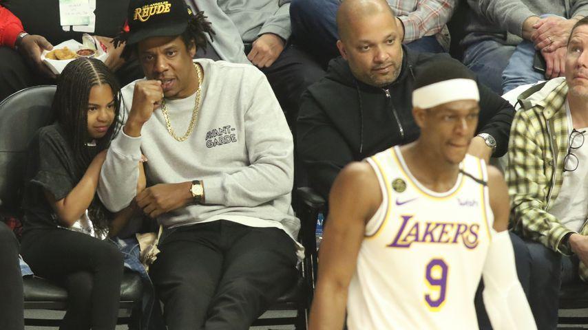 Blue Ivy und Jay-Z bei einem Basketballspiel der L.A. Lakers