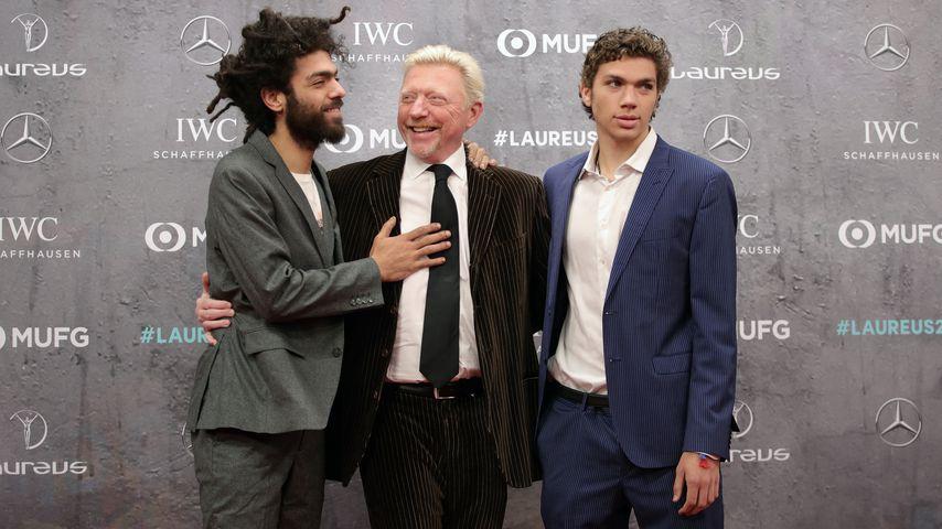 Boris Becker mit seinen Söhnen Elias und Noah