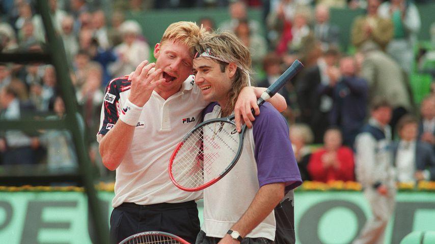 Boris Becker und Andre Agassi im Juni 1991