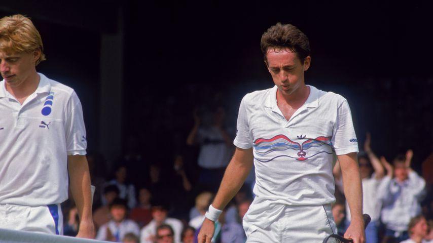 Boris Becker und Peter Doohan in Wimbledon