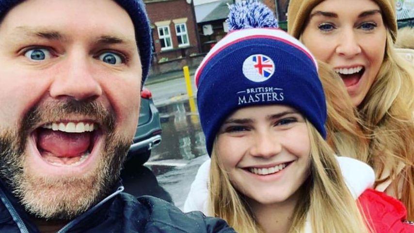 Brian McFadden mit seiner Tochter Lilly und seiner Verlobten Danielle Parkinson