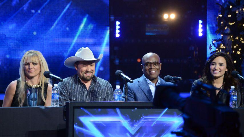"Britney Spears, Tate Stevens, L.A. Reid und Demi Lovato bei ""X Factor"" 2012"