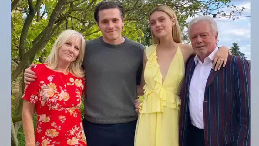 Brooklyn Beckham, seine Verlobte Nicola Peltz und seine Großeltern Jacky und Tony Adams, Juli 2020