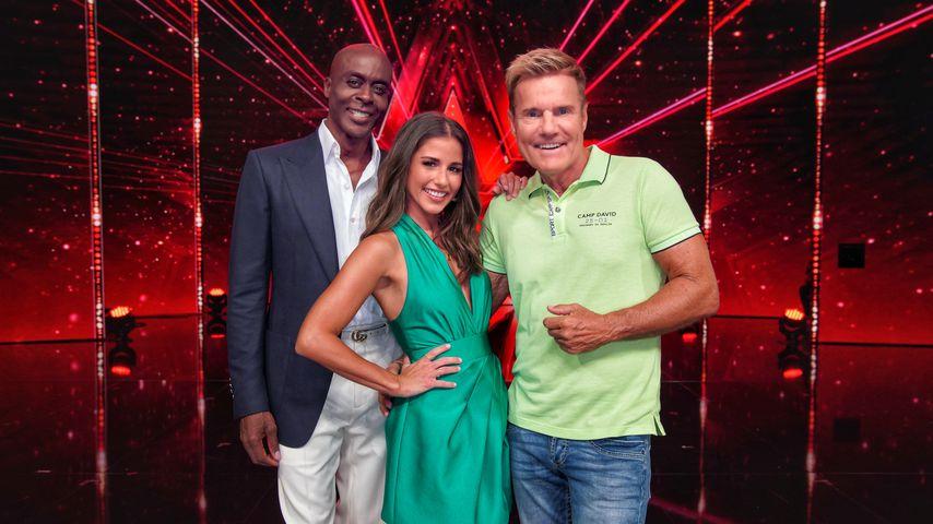 Bruce Darnell, Sarah Lombardi und Dieter Bohlen im August 2019