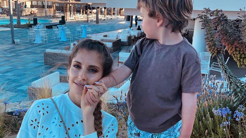 Cathy Hummels mit ihrem Sohn Ludwig