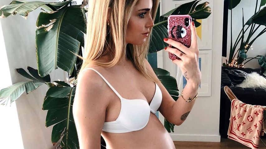 Influencerin Chiara Ferragni kurz vor der Geburt im Jahr 2018