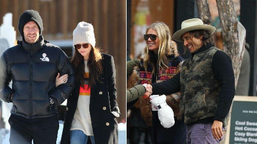 Collage: Chris Martin, Dakota Johnson, Gwyneth Paltrow und Brad Falchuk in Aspen