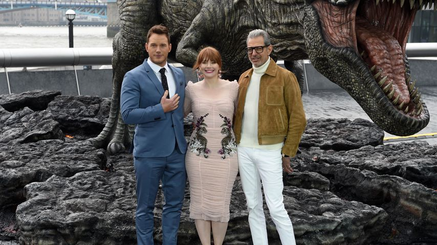 Chris Pratt, Bryce Dallas Howard und Jeff Goldblum