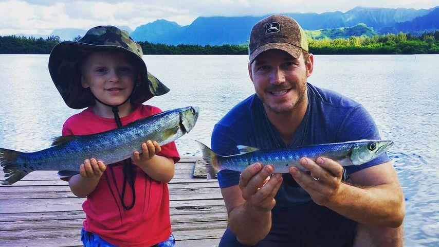 Chris Pratt und sein Sohn Jack beim Angeln