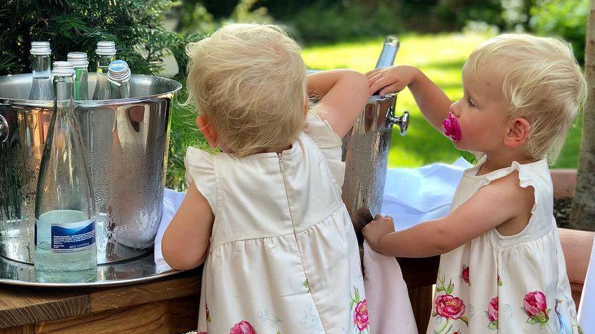 Christian Tews' Töchter Paulina und Marlena bei dem 90. Geburtstag ihrer Uroma