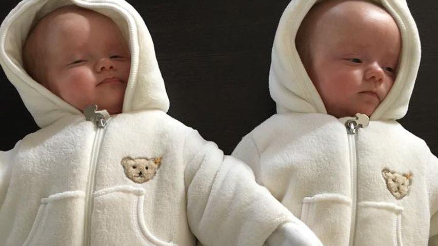 Winter-Duo: Christian Tews' Zwillinge dick eingemummelt