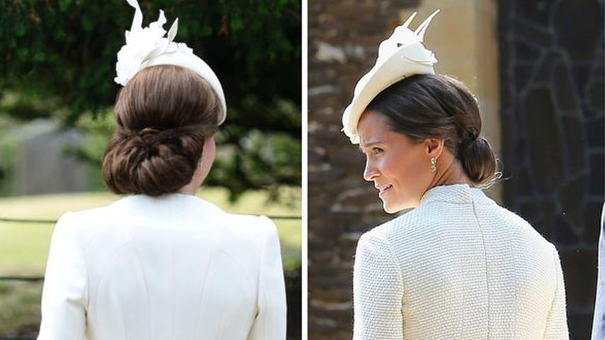 Collage: Herzogin Kate und Pippa Middleton bei Georges Taufe