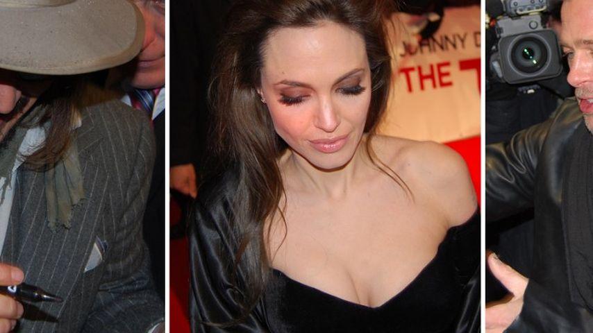 Johnny Depp und Brangelina frieren für die Fans