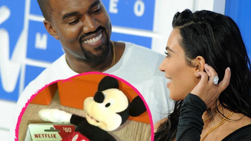 Collage: Weihnachtspaket von Kanye West an Kim Kardashian, 2017