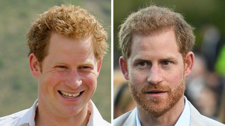Collage: Prinz Harry 2012 und 2019