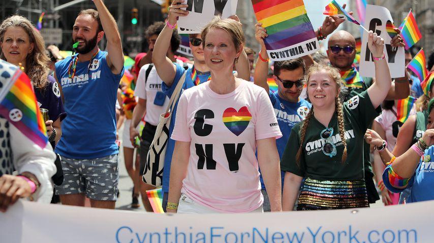 Cynthia Nixon bei der Gay Pride Parade in New York im Juni 2018