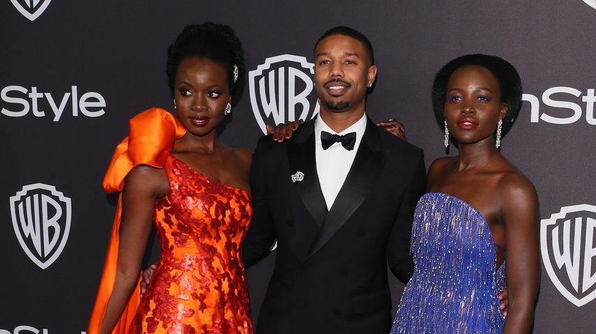 Danai Gurira, Michael B. Jordan und Lupita Nyong'o bei einer Golden Globes-Party