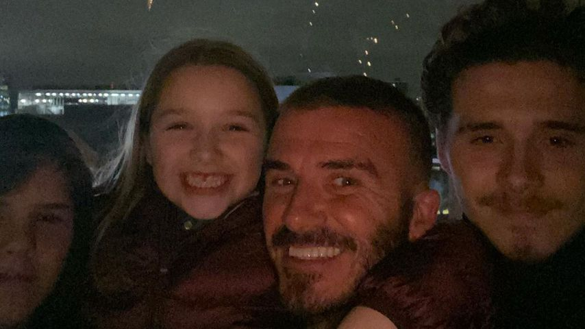 David Beckham mit seinen Kindern Cruz, Harper und Brooklyn im November 2019