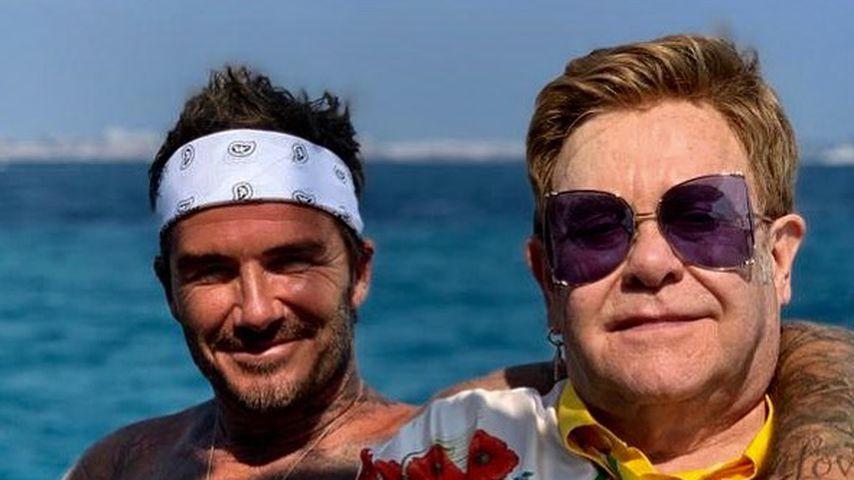 David Beckham und Elton John in Frankreich