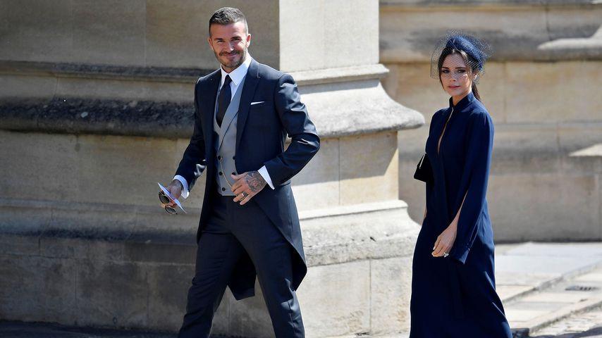 David Beckham und Victoria Beckham an Meghans und Harrys Hochzeit im Mai 2018