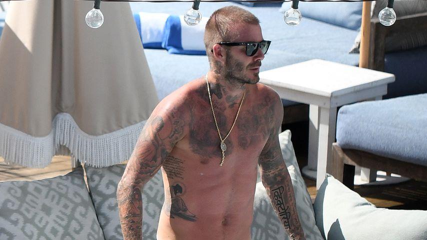 David Beckhamam Pool eines Hotels in Miami