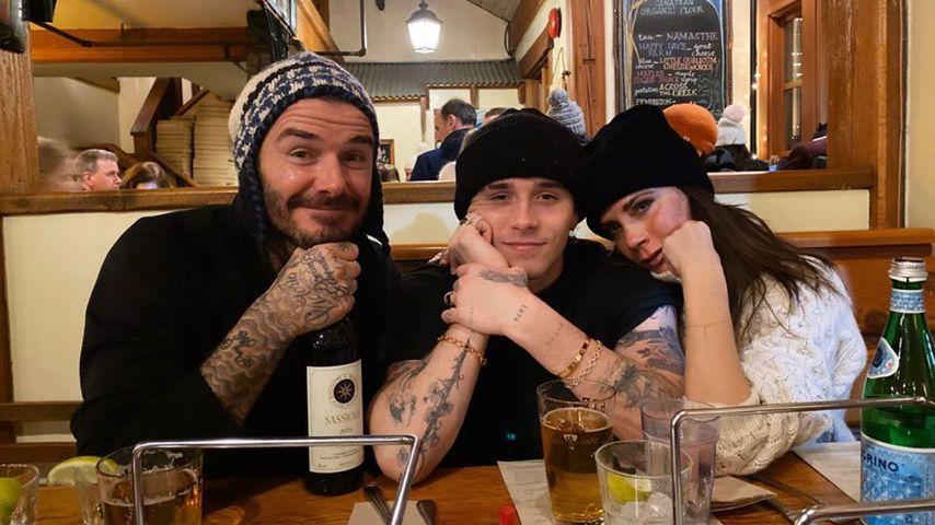 David, Brooklyn und Victoria Beckham im Februar 2020