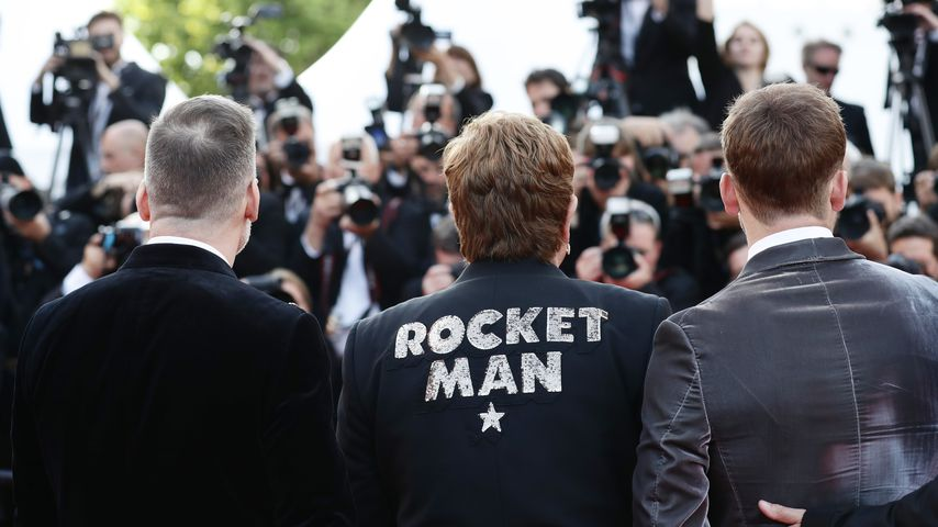 David Furnish, Sir Elton John und Taron Egerton im Mai 2019 beim Filmfestival in Cannes
