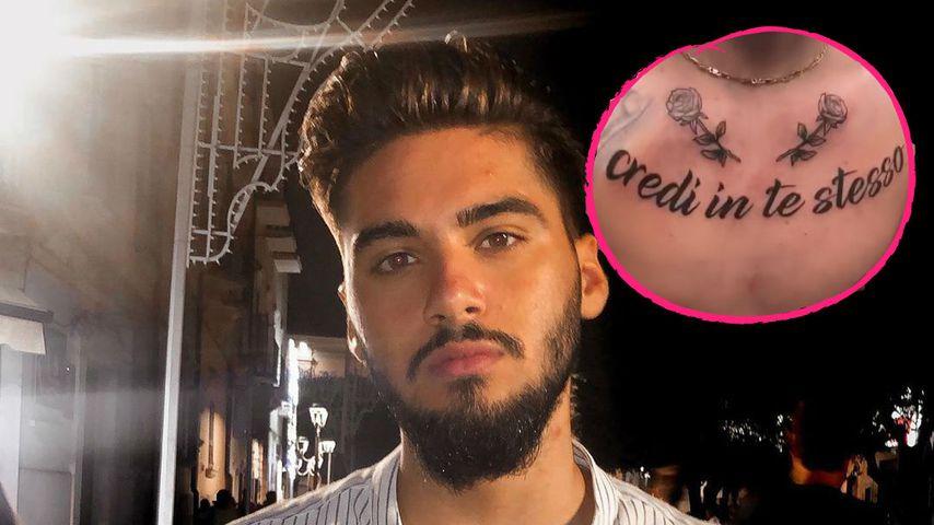 Tiefsinniger Spruch? Davide hat ein neues XXL-Brust-Tattoo