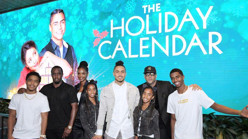 Diddy und Kim Porter mit ihren Kindern Justin, D'Lila, Quincy, Jessie James und Christian