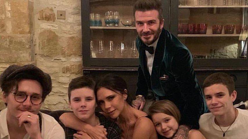 David und Victoria Beckham mit ihren Kindern Brooklyn, Cruz, Harper und Romeo, 2019