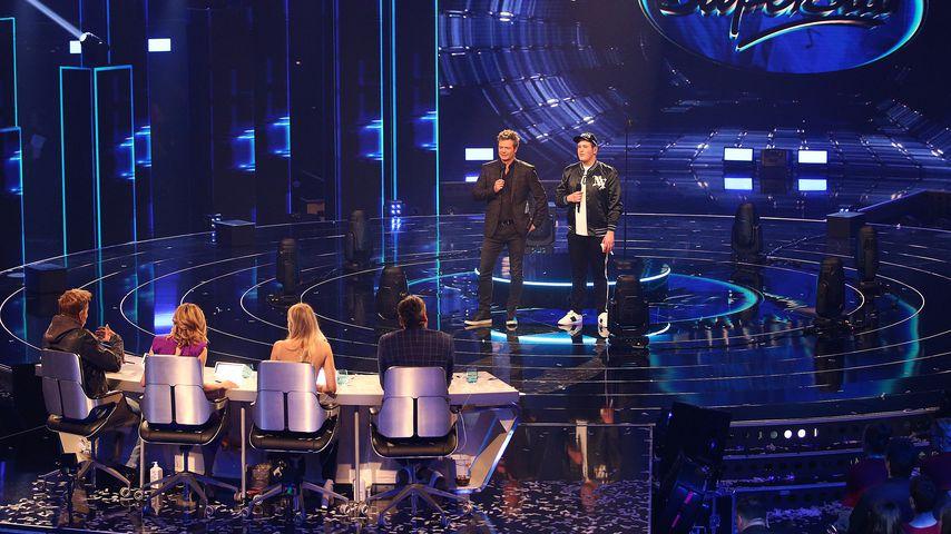 Die DSDS-Jury, Moderator Oliver Geissen und Kandidat Lukas Otte bei den Liveshows 2018