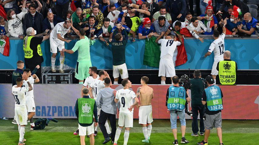 Die italienische Nationalmannschaft nach ihrem Sieg gegen Belgien