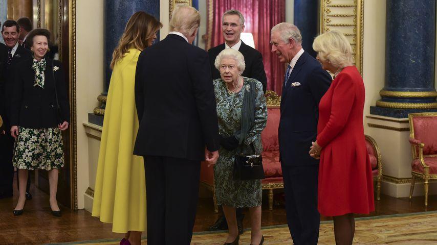 Prinzessin Anne, Melania und Donald Trump, Queen Elizabeth II., Prinz Charles und Camilla