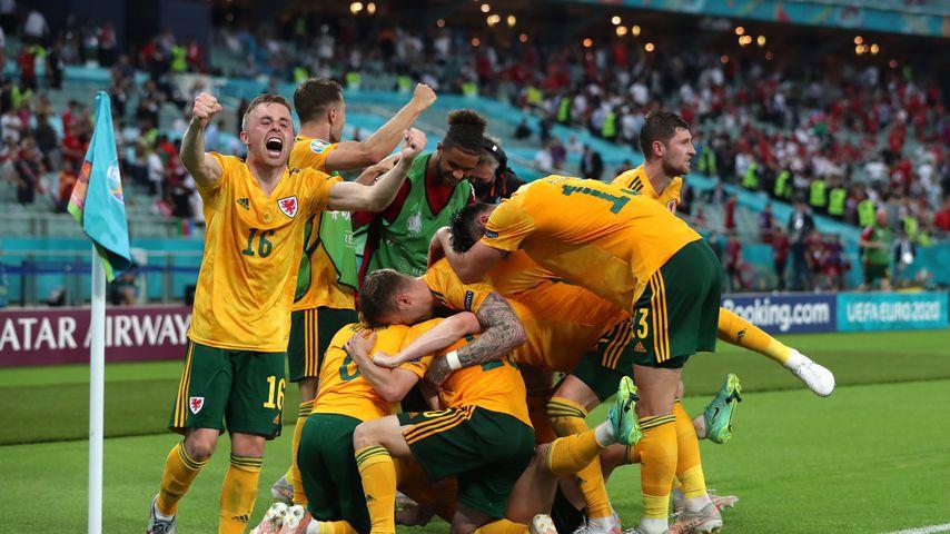 Die Waliser Spieler beim Sieg über die Türkei