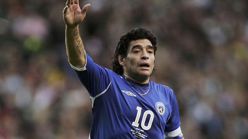 Diego Maradona bei einem Benefiz-Spiel in Manchester, England 2006
